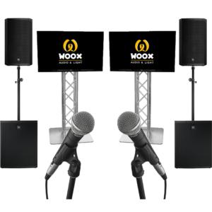 karaoke set groot tv scherm schermen subwoofer feestje